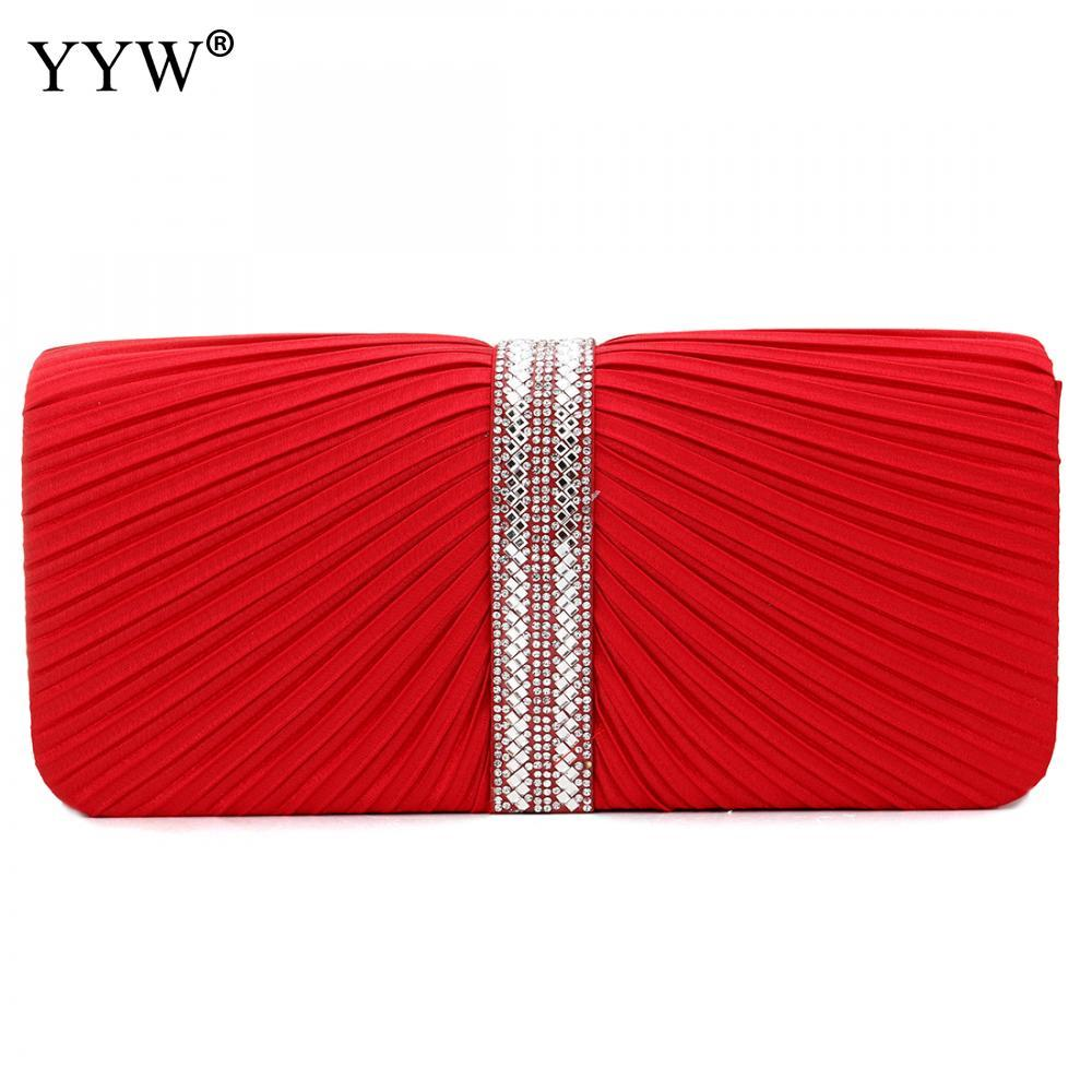cbefe63709 YYW Hot Evening Bags For Women Polyester Iron-On Shoulder Bag Clutch Bag  Bulk Solid Red Nouvelle Collection Hand Sac Femme