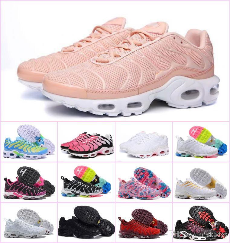 low priced 338a7 7dfb2 Compre 2018 Barato Original TN Zapatos De Las Mujeres Blancas Negras De  Deportes Zapatos De Color Rosa Azul De La Mujer Mejores Zapatillas De  Deporte ...