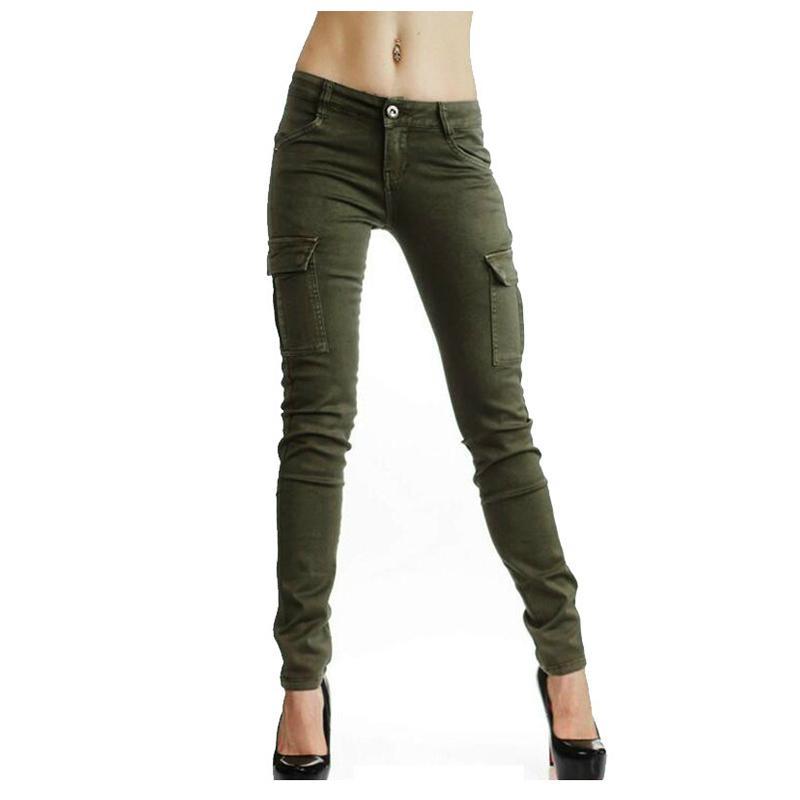 7c3960817 Compre Moda Feminina Exército Verde Algodão Denim Calças Multi Bolsos Calça  Jeans Cintura Baixa Magro Calças Lápis Ocasional Fora Subida Jean De  Manxinxin, ...