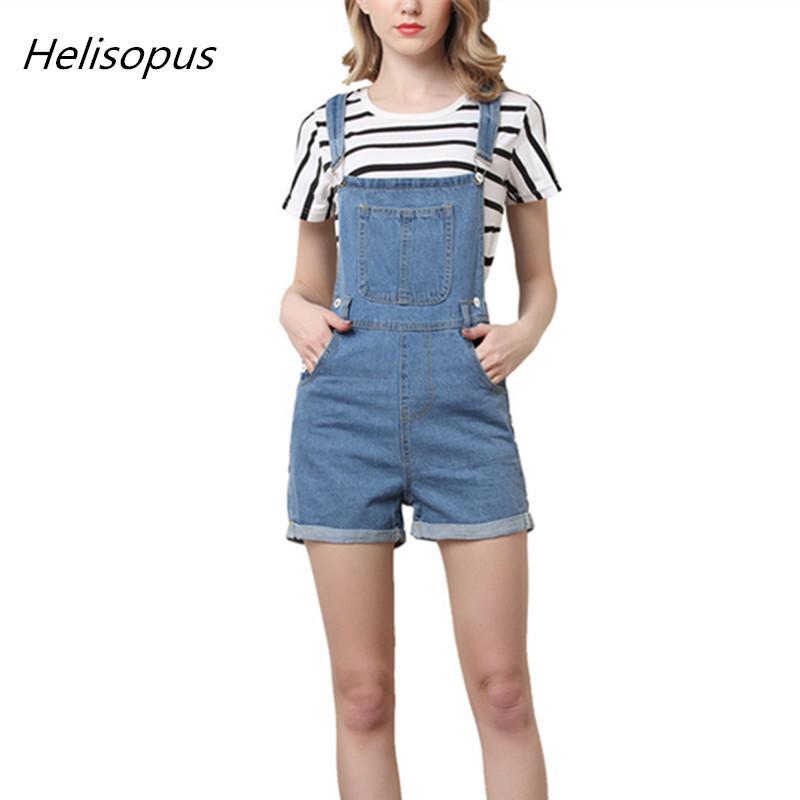 fd131695add519 Helisopus Short Pantalon Denim Salopette Femme Jeans Décontracté Lavé Bleu  Salopette 2018 Summer One Piece Vêtements