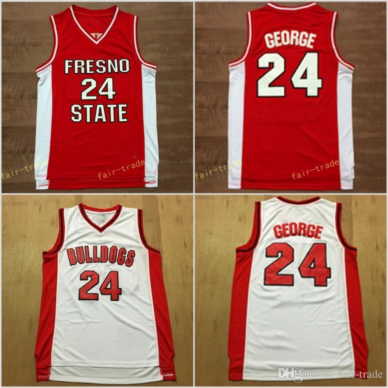 super popular 28b2f 6f32d Free Shipping 24 Paul George College Fresno State Bulldogs Jerseys Men Red  White Basketball Paul George Jersey Sport University Breathable