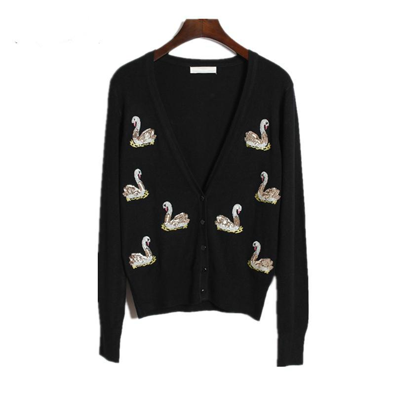 d2b7d8a2b3054 Spring Autumn Summer Winter New Women Sequins Swan Embroidered Sequin Knit  Cardigan Sweater Female All-match Coat S00 Q170663 Online with  37.24 Piece  on ...