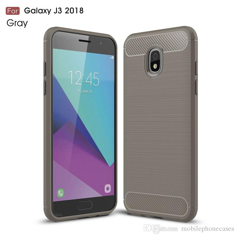 CellPhone Cases For Galaxy J3 2018 J4 J6 J7 2018 backcover Luxury Carbon Fiber case for J8 2018 cover