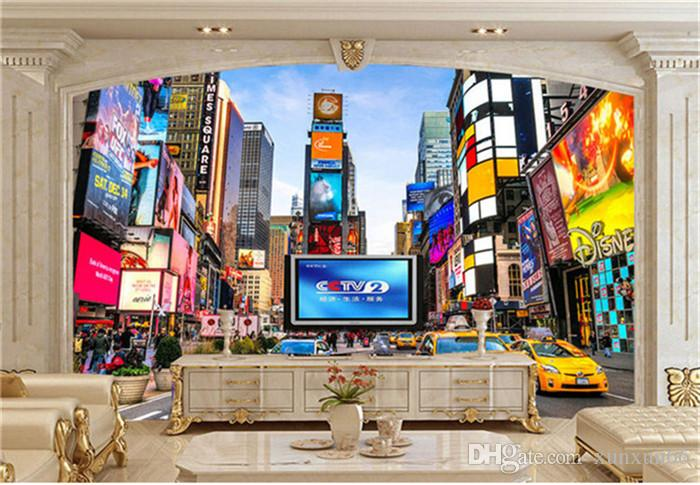 사용자 정의 3D 사진 배경 화면 타임즈 스퀘어 뉴욕 현대 스트리트 뷰 숍 바 베드룸 거실 테마 배경 화면 3D 스테레오 벽화