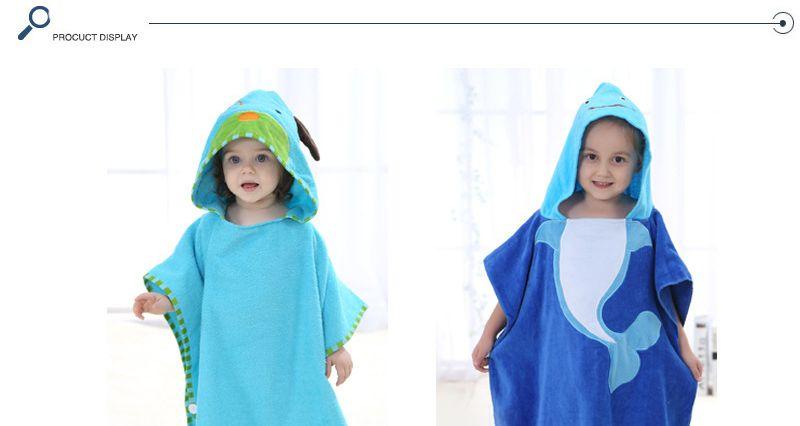 New Large Size 60*120cm Animal Shape Baby CottonHooded Bathrobe Cosplay Cute Animal Cloak With Cute Ear Bath Towel Kids Rub Body Robes