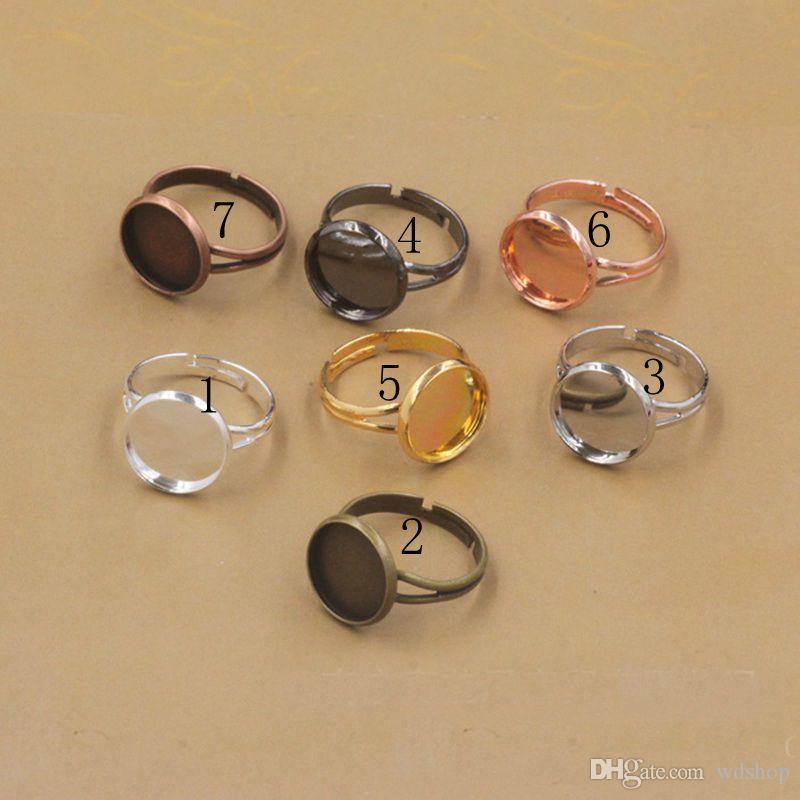 Einstellbare Runde Cabochon Base Ring Einstellungen Blank / Base, Fit 10mm 12mm 14mm 16mm 18mm Glas Cabochons Tasten Ring Einfassungen