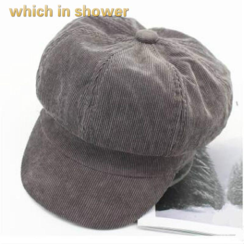 f71741b704004 Which in Shower Solid Casual Corduroy Women Beret Vintage Artist ...