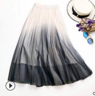 b641a05a04 Compre 30 Unids   Lote Fedex Rápido Verano Mujeres Gradiente De Color A  Line Faldas Largas Plisadas Cintura Elástica Candy Contraste Falda A  475.3  Del ...