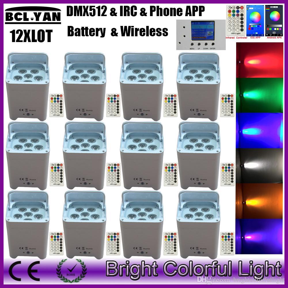 12XLOT High quality 6pcs*18w RGBWA+UV 6 IN 1 Wifi Led Battery Wireless DMX  Freedom Par Light With IR Remote Phone App