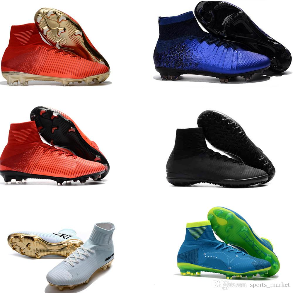 f3199b0bc5cc Top Quality Mercurial Superfly FG CR7 Full Blue Diamond Soccer Shoes ...
