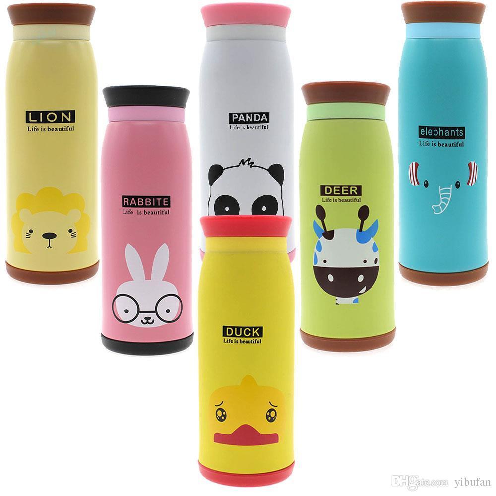 Stainless Steel Cute Cartoon Animal Duck Deer Elephant Rabbit Panda Lion Thermos Travel Mug Vacuum Cup Bottle 500ml
