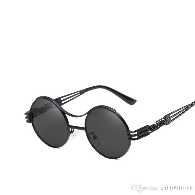 2798d65c7e Cheap Round Steampunk Sunglasses Brand Designer Red SteamPunk Sun Glasses  for Women Men Vintage Metal Hotselling Summer Gift Drop Shipping AA86