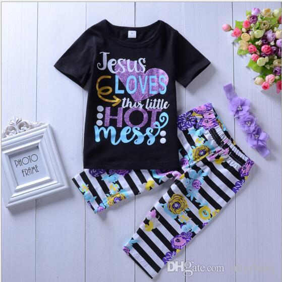 d6d4558dc70 2019 Baby Halloween Outfits Striped Christmas Clothing Sets Kids Short  Sleeve Letter Clothes Suits Ins T Shirt Pants Headband Sets YL214 From  Interbaby