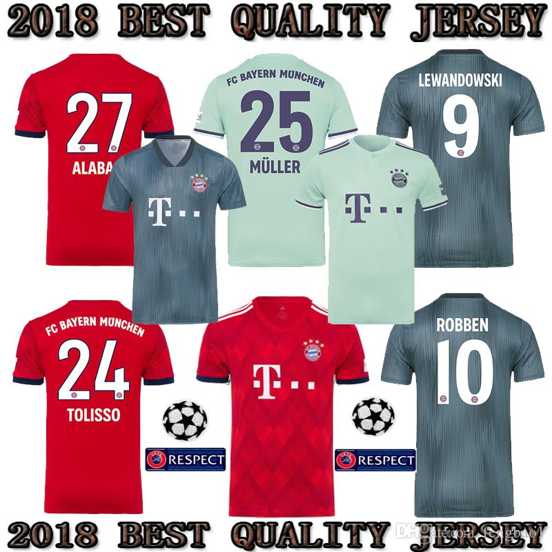 watch 642fd 668dd 2018 2019 Bayern Munich HOME AWAY Third jerseys JAMES VIDAL RIBERY GOTZE  SANCHES LAHM Champions League 18/19 LEWANDOWSKI MULLER ROBBEN shirt