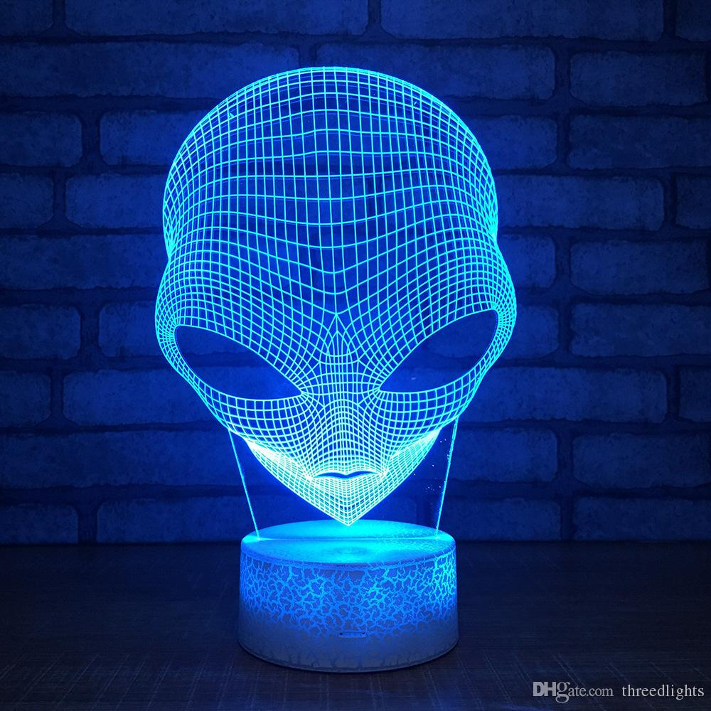 3D Alien Optical Illusion Night Light Changing Touch Switch Table Desk Decoration Lamps Perfect Christmas Gift with Acrylic