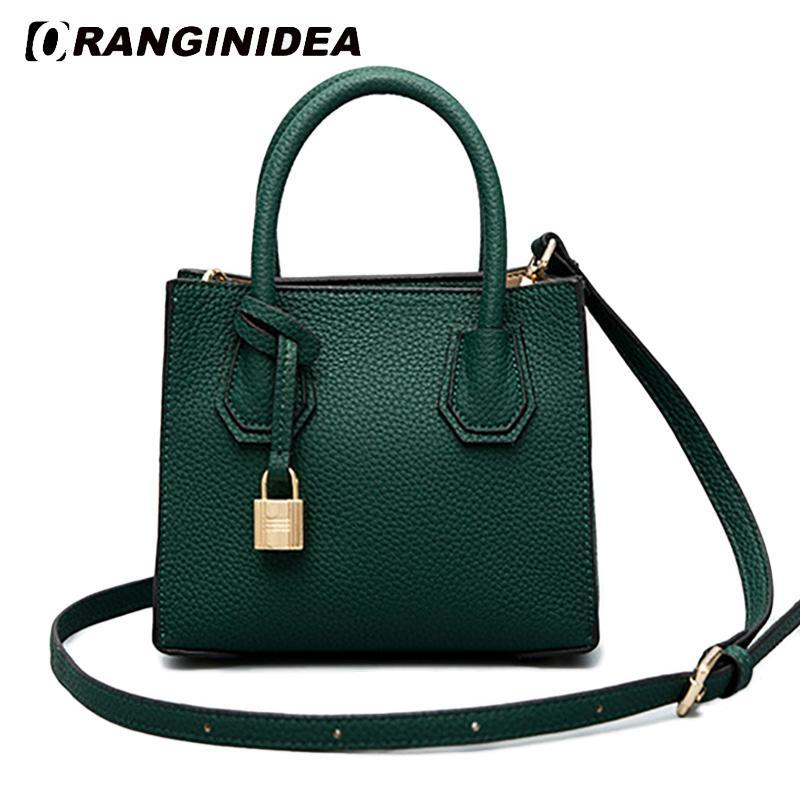 b9552b3b126c 2018 New Women Handbag Small Pu Leather Mini Tote Bags Fashion Shoulder  Crossbody Bag with Lock 19*10*16cm Solid Handbag