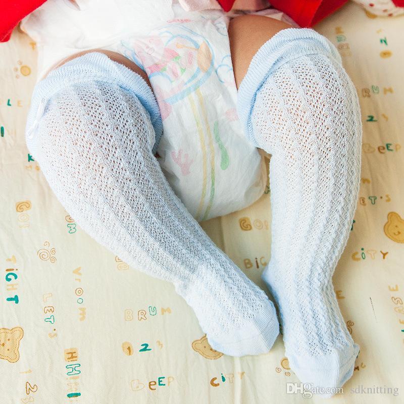 6 색 아기 소녀 새로 태어난 무릎 높은 양말 아기 소년 얇은 메쉬 여름 화이트 핑크 블루 옐로우 크림 무릎 양말