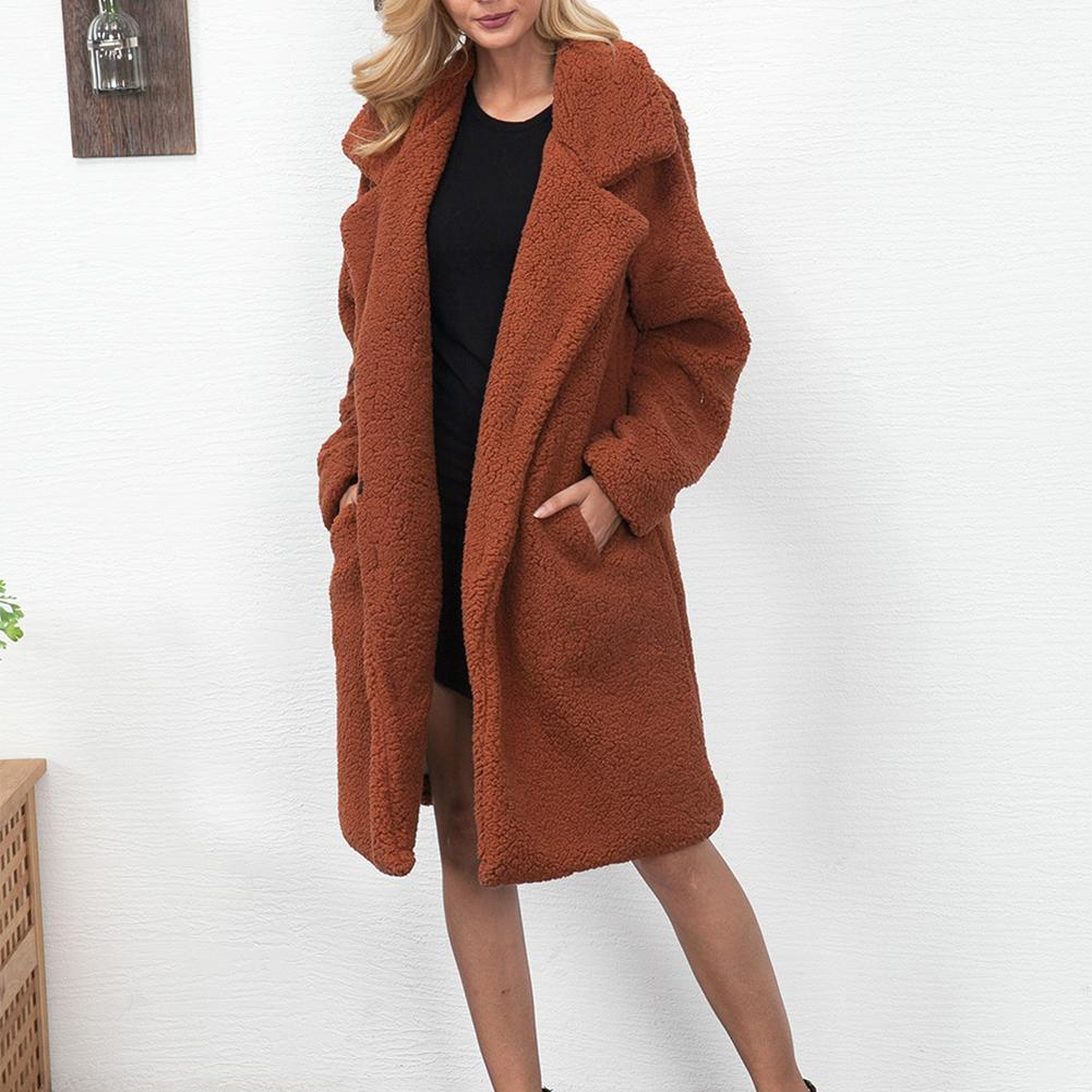 innovative design 61130 02aff Frau Wollmantel Damen Winter Warm Plüsch Kunstpelzkragen Langer Mantel  Dicker Pelz Lässige Oberbekleidung Camel Haarige Mantel Plus