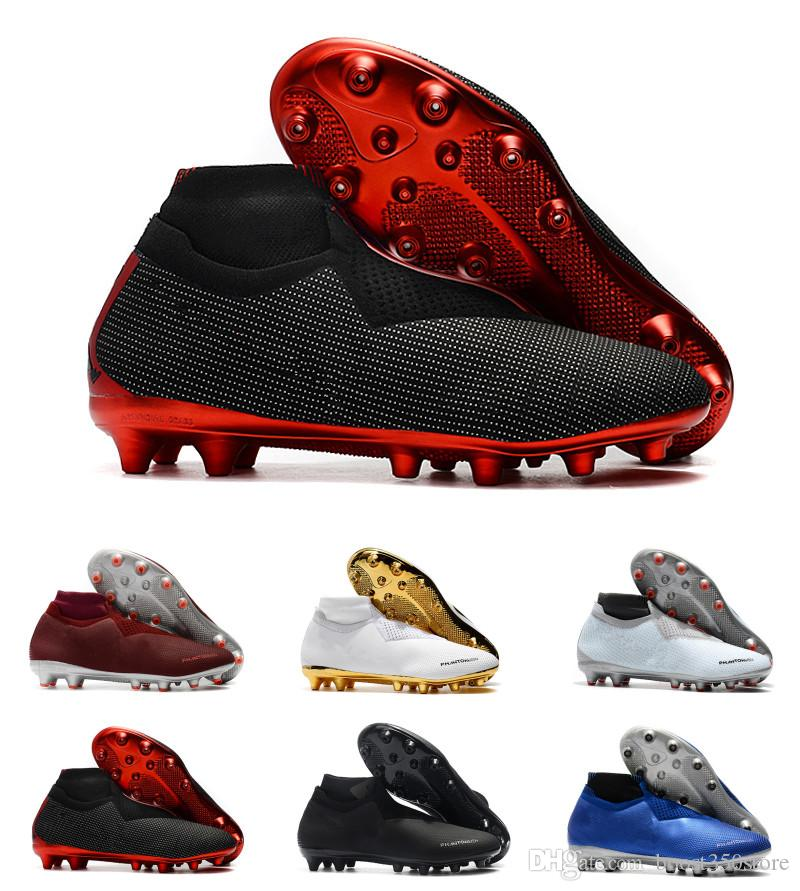 8ee96276324 2019 High Quality Football Shoes Phantom VSN Elite DF AG High Top Soccer  Shoes Lime Green Blue Black Red White Gold Soccer Cleats From  Boost350store