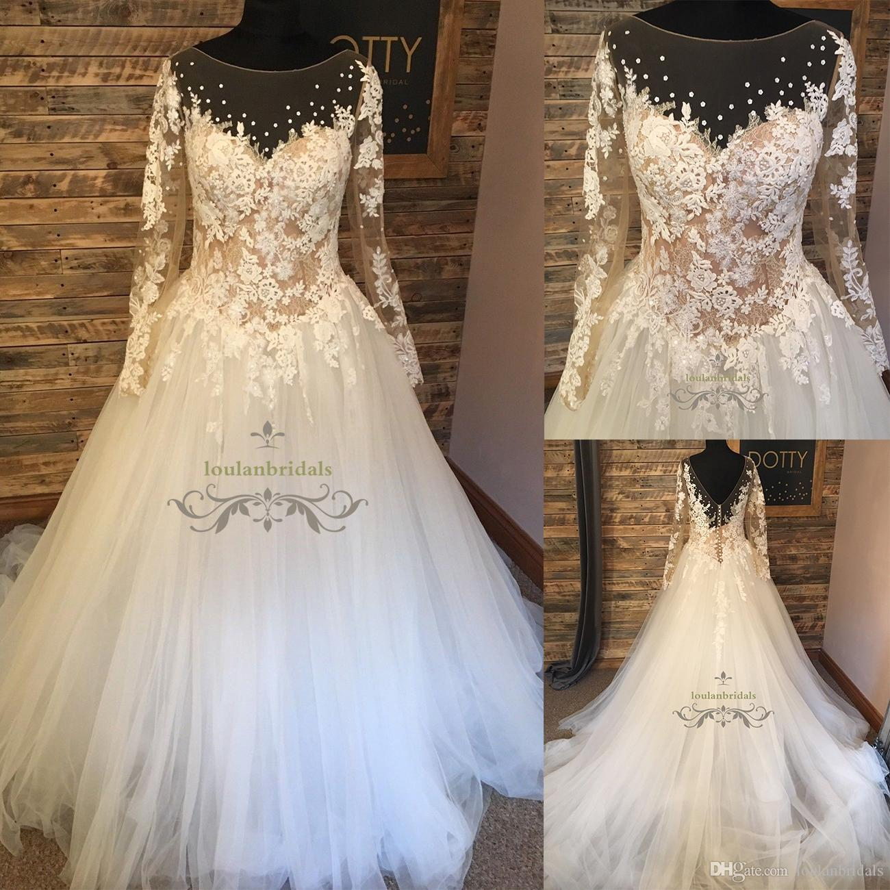 Lace And Tulle Princess Style Long Sleeve Wedding Dress Illusion Boat Neckline Bridal Gowns Ball Gownduchess Plus Size Gown Dresses: Wedding Dress Sleeves Princess Styles At Reisefeber.org