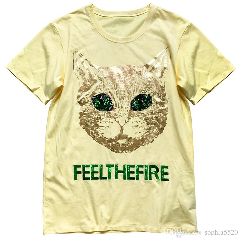 c927ff686 2018 Women'S Short Sleeves Personality Fashion Trend Round Neck Cute Heavy  Duty T Shirt Female Slim Cat Pattern Printing With Letters Shirt T Shirt  Designer ...