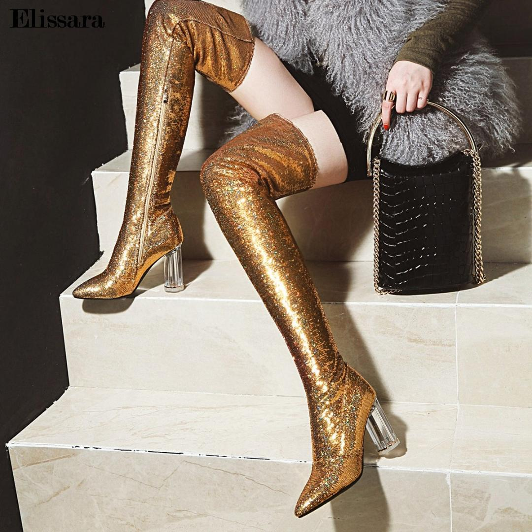 feffc21b64d Women Fashion High Heels Winter Over Knee Boots Shoes Woman Zip Glitter Gold  Heels Thigh High Boots Shoes Size 33 43 Elissara Boots Online Leather Boots  ...