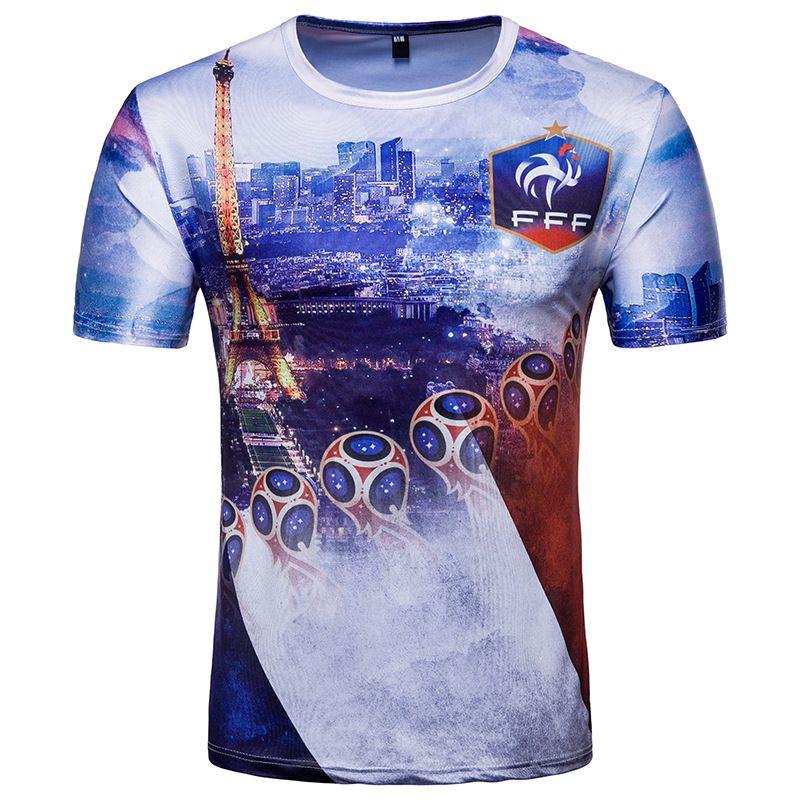 France Tshirts Team Football Man Men Summer Tees 2018 New Sports 3D Printed Tops