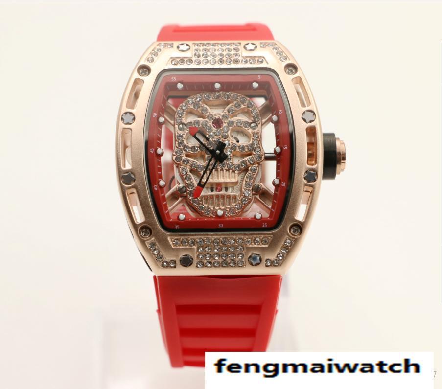 ee01e5cd Skull Tourbillon tonneau мужские наручные часы 43мм алмазный каркас  кварцевые часы прозрачные сапфировое стекло назад красная резиновая лента  No 20