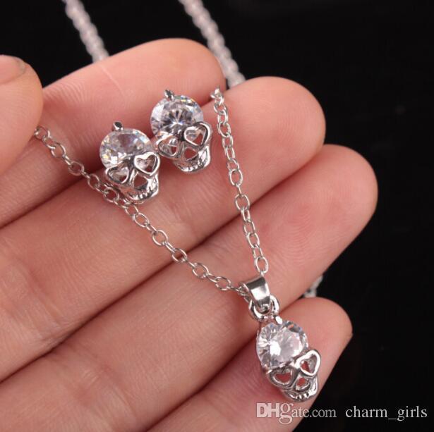 2018 nuove donne di modo signora ragazza ragazza delicata oro argento cranio zircono pendente collana gioielli orecchino set gioielli
