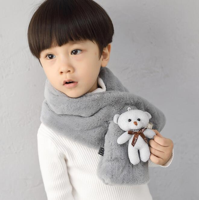 Lovely Baby Scarf Fashion Faux Fur Children Scarves Cute Lace Bear Warm Winter Soft Shawl Wrap For Kids Clothes Accessory
