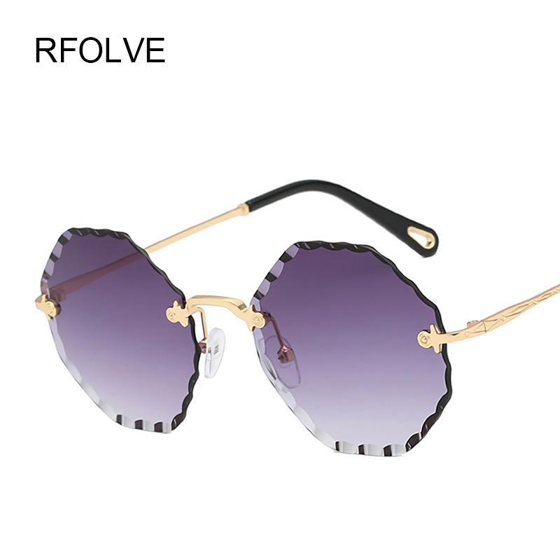 73290352d7 Compre RFOLVE Lujo Sin Montura Gafas De Sol Mujeres Lnnovative Diseño Agua  Ondulación Gafas Lentes Gafas De Sol UV400 Moda Damas Shades R8904 A $36.63  Del ...
