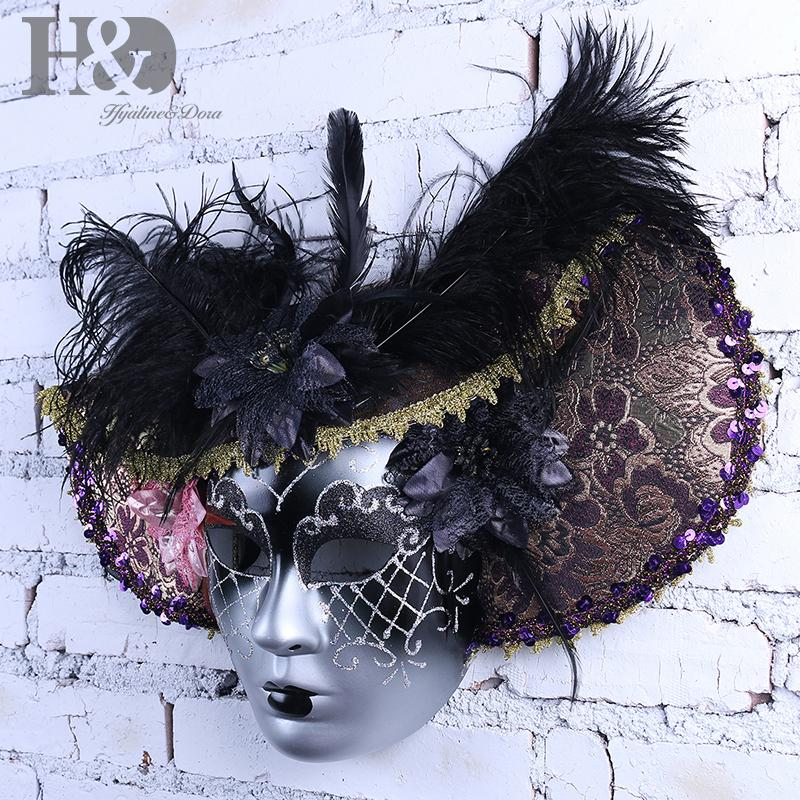 bdb8b36a8bd9c Compre HD Elegante Sombrero De Pluma Negro Cara Completa Máscara Veneciana  Fiesta De Halloween Mascarada Máscaras Italia Señora Máscara Regalos Del  Favor De ...