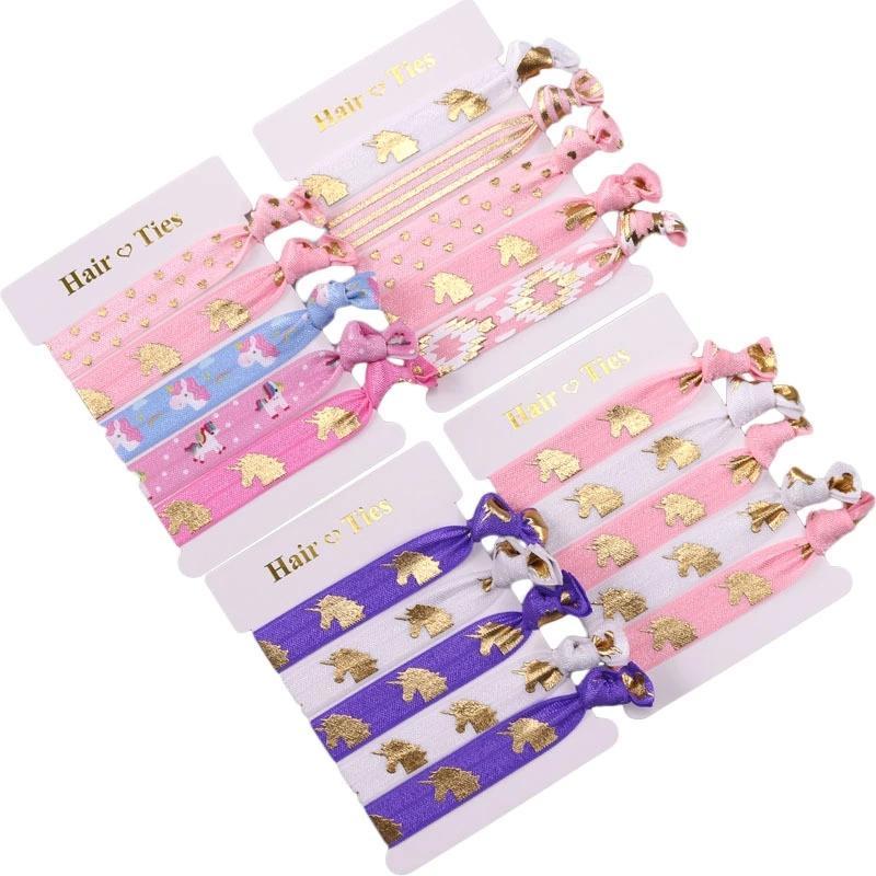 scarpe di separazione b0f4a b870a 30 Set / lotto, cravatte per capelli unicorno metallizzato oro, elastici  per capelli unicorno, braccialetti per feste di festival