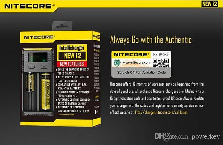 100% Authentic Nitecore NEU I2 Intellicharger Universal 1500mAh Max. Ausgang e cig Ladegeräte für 18650 18350 26650 10440 14500 Batterie100% Orig