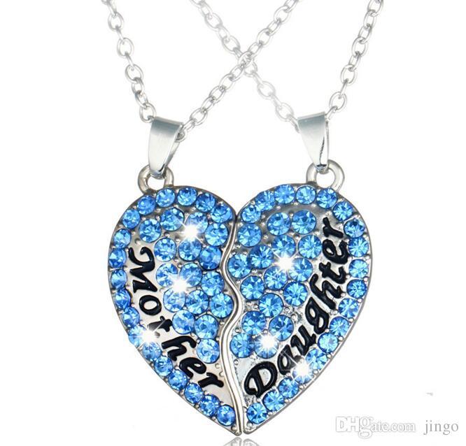 Anneler ve kızları kalp şeklinde Aşk elmas dikiş kolye kolye anneler Günü hediye moda takı Parti Favor NN