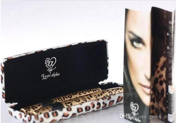 Nouveau Léopard Imprimer Amour Alpha Black Eye Mascara Long Cils Silicone Brosse Courbure Allongement De Mascara Étanche Maquillage