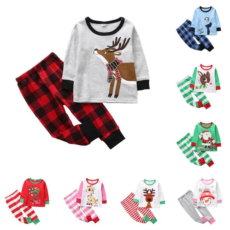 3bf04759c1 Baby Boys Girls Deer Pajamas Cotton Pyjama Kids Christmas Reindeer Pajamas  Toddle Long Sleeve Homewear Sleepwear Girls Pjs On Sale Christmas Pyjamas  For ...