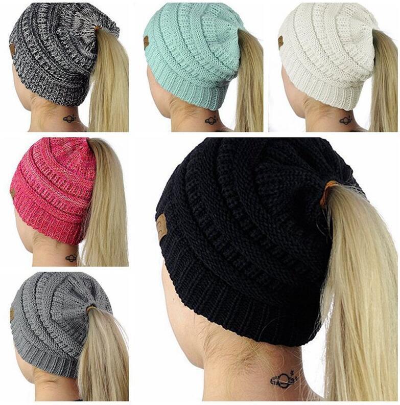 884153fe2abd1 CC Ponytail Beanie Hat Women Crochet Knit Cap Winter Skullies Beanies Warm Caps  Female Knitted Stylish Hats CC Ponytail Caps CC Beanies Sports Caps Online  ...