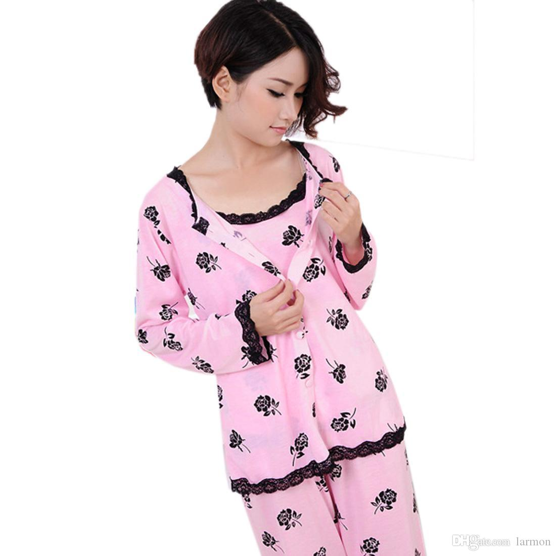 09f927e8d200 2019 Wholesale 2016 Spring Autumn Women Pajamas Set Nightwear Plus Size M  XL Long Sleeve Floral Print Home Suit Sleepwears Nightgowns From Larmon