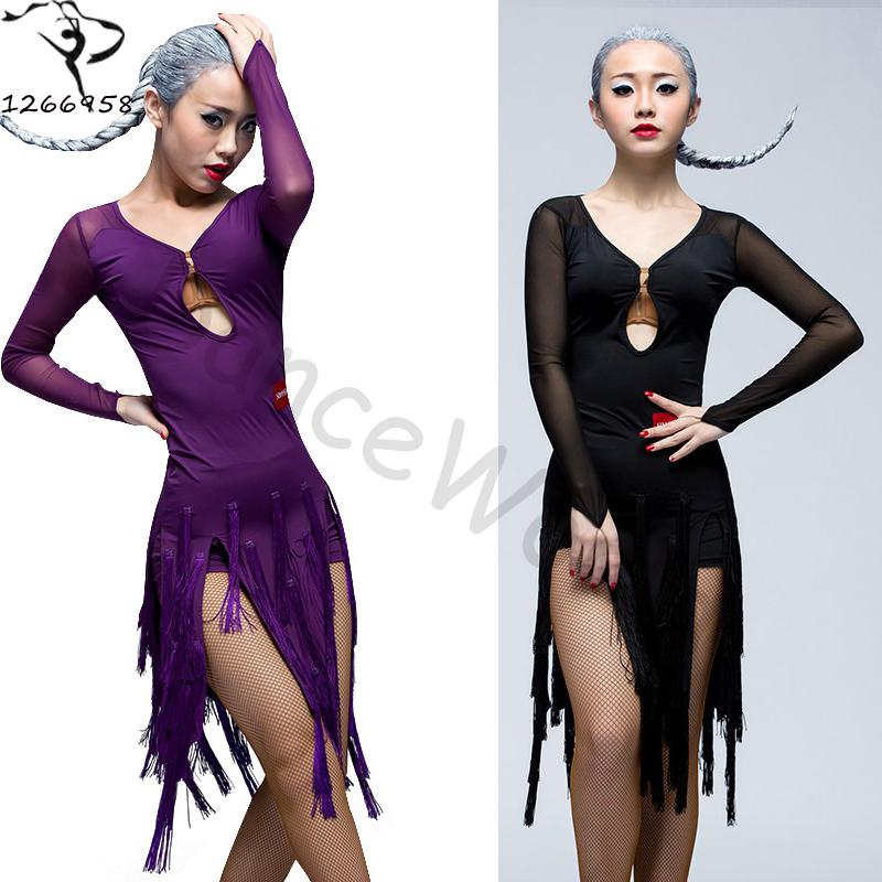 fd406b44287c 2019 Sexy Hot Sale Dance Costumes Latin Dance Costume Senior Long Sleeves  Tassel Dress Women Competition Dresses Black/Red/Purple From Shengui, ...