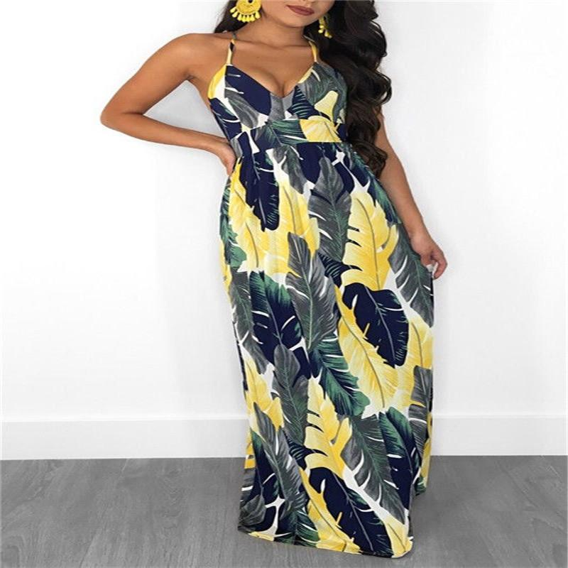 55488fa69e14 2019 Women Summer Clothes Sleeveless Casual Loose Backless Floral Print  Boho Dress Cocktail Party Beach Sundress V Neck Regular Size From  Crutchline