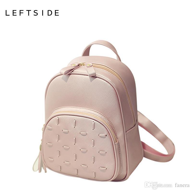 85af3d85fc96 Wholesale- LEFTSIDE Women s PU Leather Backpack Travel Bag Female ...