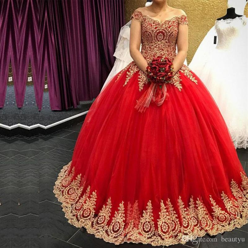 0a738e5813 Gold Lace 2018 Quinceanera Dresses Off The Shoulder Corset Sweet 16 Ball Gown  Red Tulle Floor Length Long Formal Plus Size Prom Dress Canada 2019 From ...
