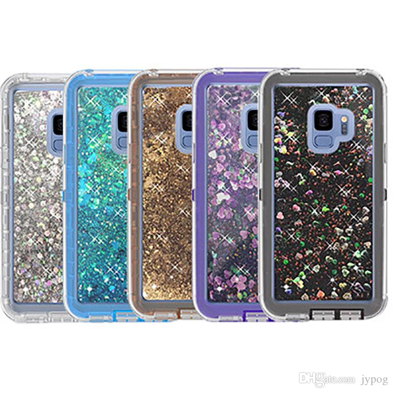 For Samsung S9 Case 3in1 Liquid Glitter Quicksand Defender Phone Case with Dust Plug for Samsung Galaxy S9 S9 Plus