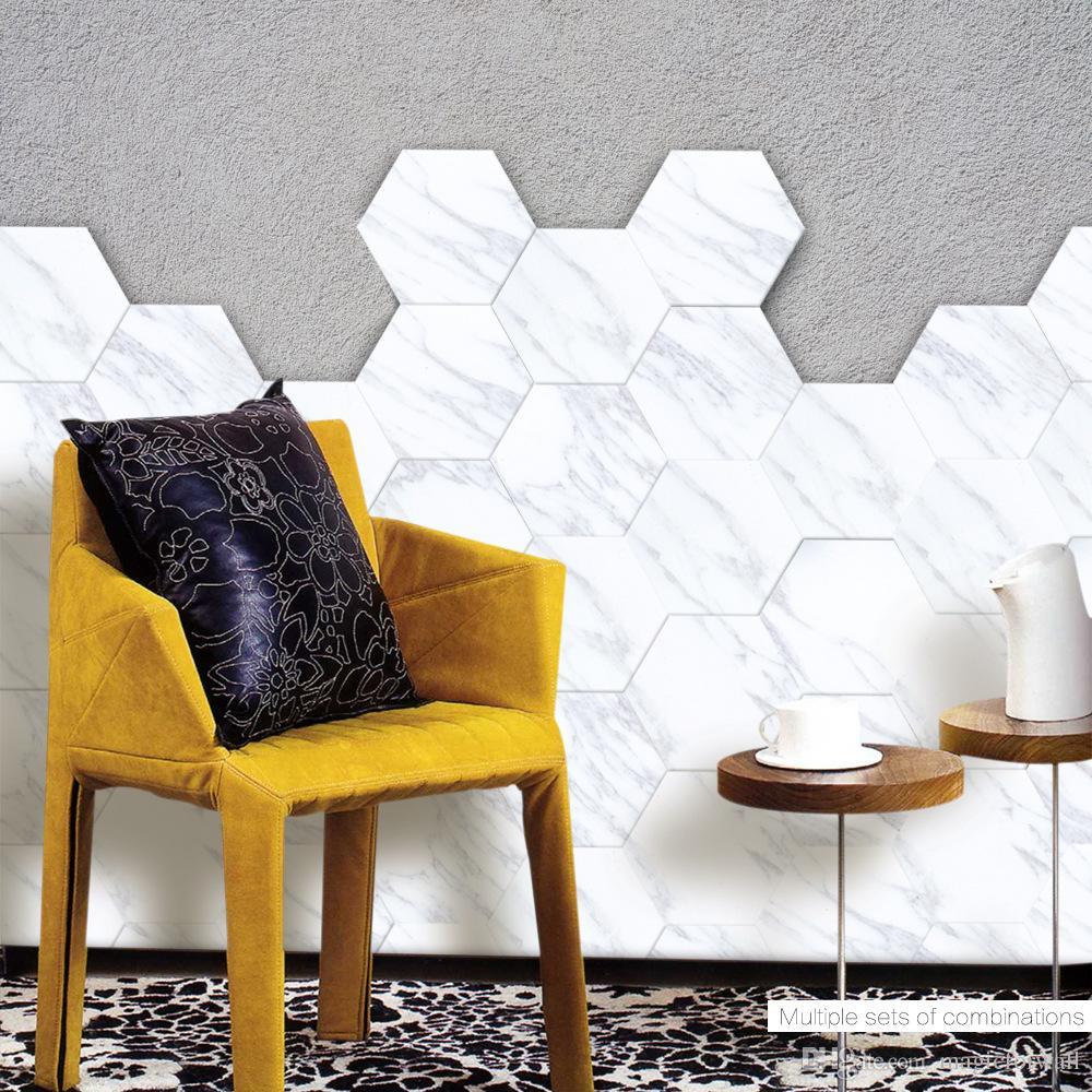 Marble Style Hexagon PVC Floor Sticker Living Bath Room Bedroom Wall Mural Poster Tiles Stickers Decals Non-slip Waterproof Art