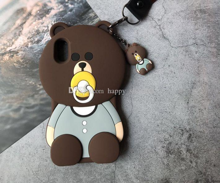3D pacifier bear case Cartoon animals Cute Toy brown bear silicone case For iphone x 6 6plus 7 7plus s9 s9plus Cell phone case
