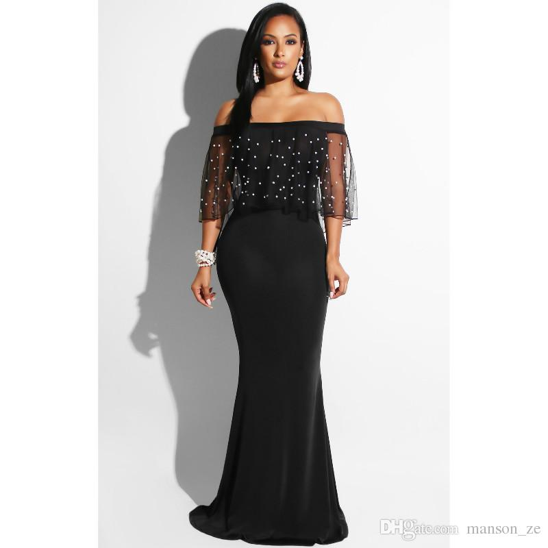3a235674a9615 Women Black Pearl Lace Sheer Mesh Mermaid Dress Sexy Slash Neck 3/4 Sleeve  Party Club Long Bodycon Maxi Dress Fashion Evening Dress