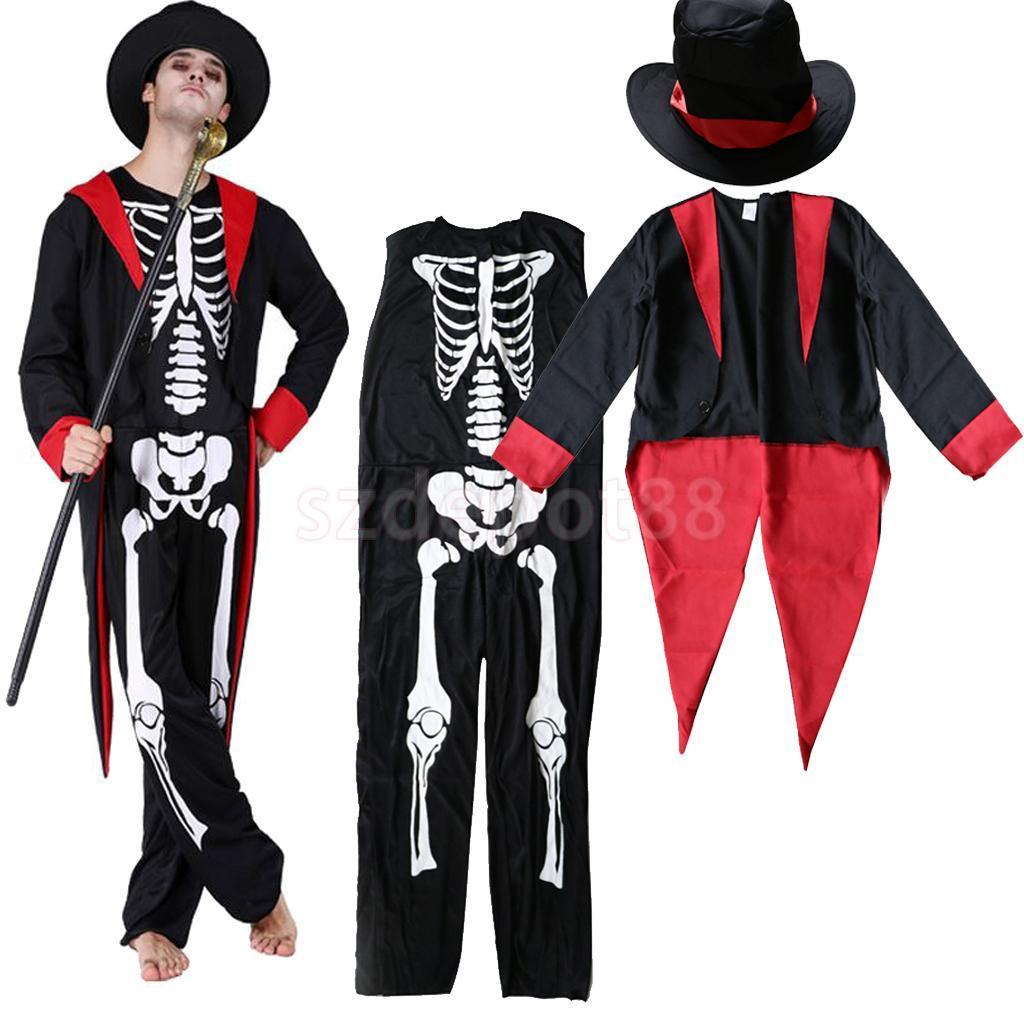 Compre Día Mexicano De Los Muertos Disfraz De Esqueleto Zombie Sombrero  Español Fiesta De Halloween Disfraz De Adulta Hombre Traje De Fantasma A   60.29 Del ... fd5e15227c1