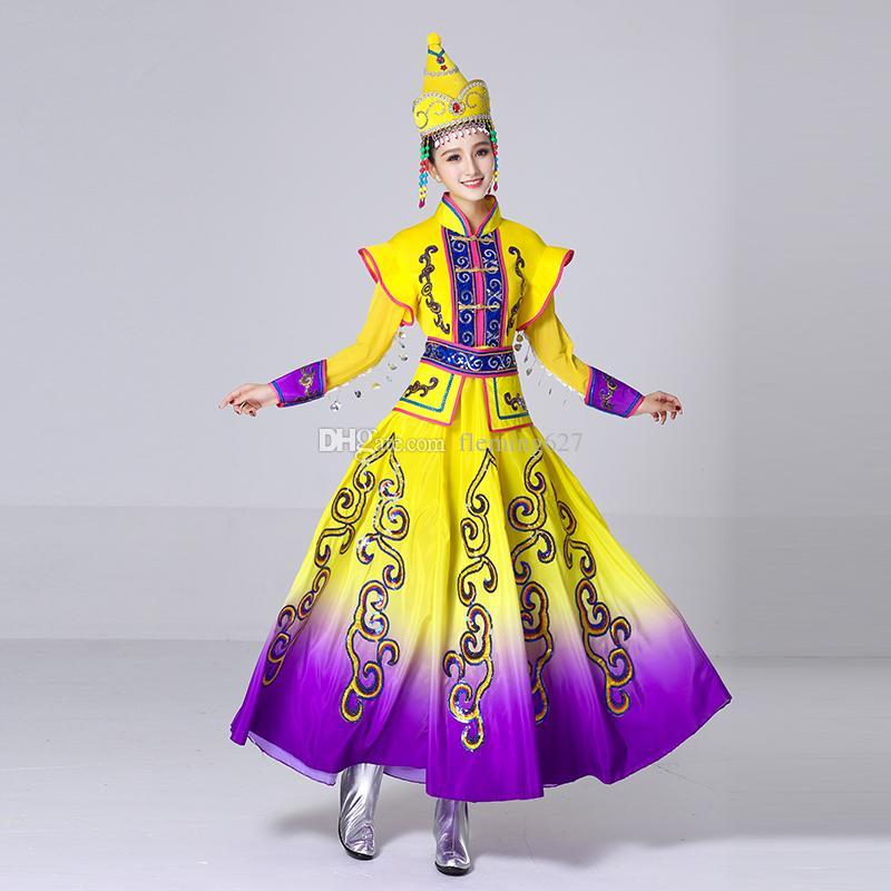 ed261b3e200f 2019 New Design Long Mongolian Dance Clothing Ethnic Minority Dress ...