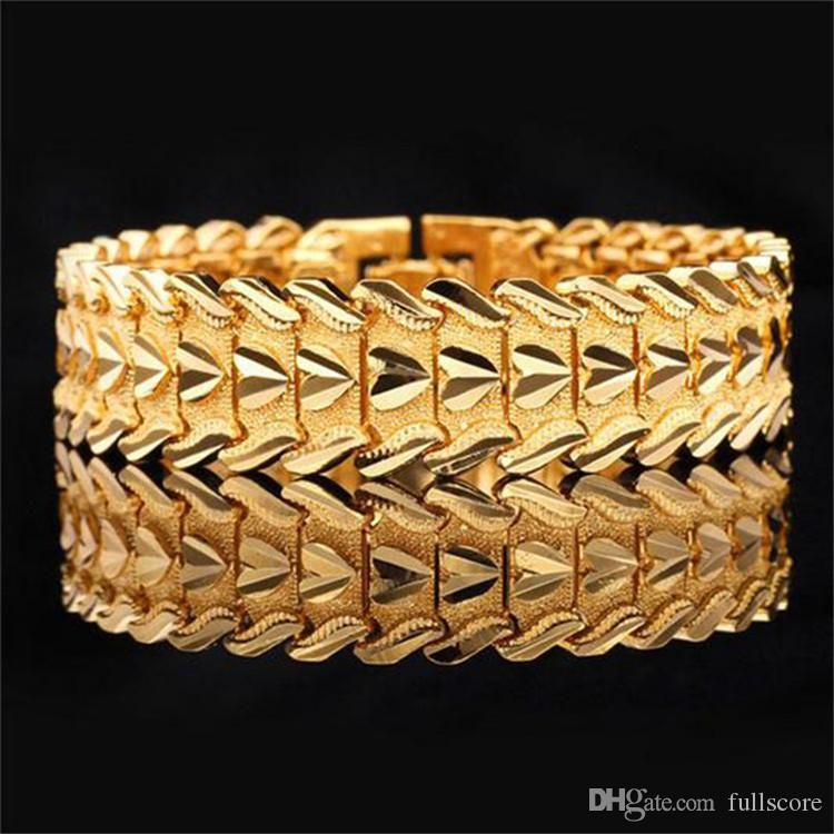 Gelbgold Farbe Bangles Splitter Farbe Armbänder Valentinstag Geschenk Vintage Großes Herz Männer Schmuck Großhandel 2018